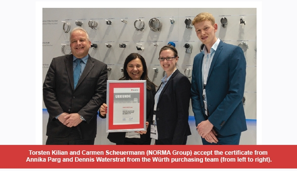 NORMA Group honored as an outstanding supplier by Würth