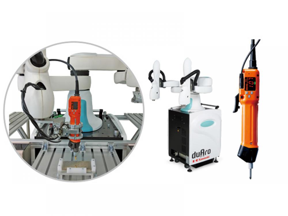 HIOS fastening system and small double-arm robot cooperate